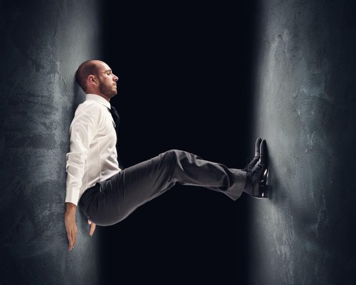 Concept of a stressed businessman under pressure