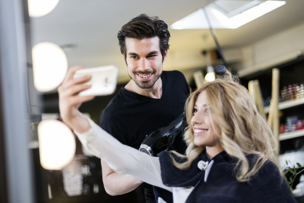 Selfie with hairdresser