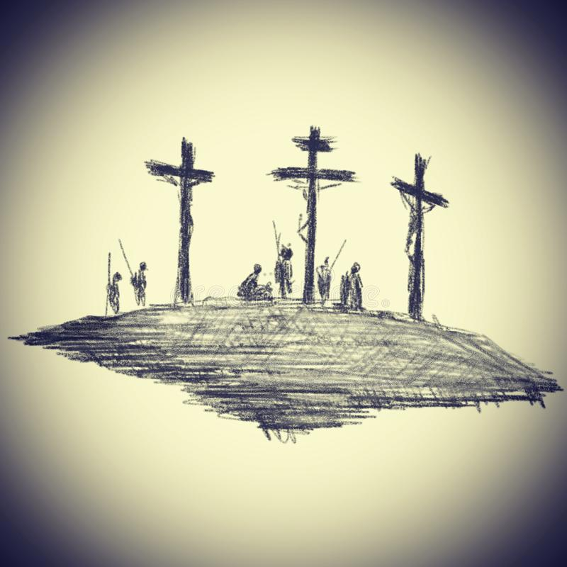 photo-illustration-drawing-pencil-strokes-black-religious-theme-crucified-christ-calvary-beige-background-vignette-144925712